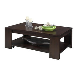 Progressive Furniture - Waverly Lift Top Coffee Table - Storage tray under top. Practical full shelf for handy storage. Larger scaled and sized for spacious living areas. Concealed casters for easy mobility. Made from selected walnut veneers. Vintage walnut finish. Assembly required. 54 in. W x 32 in. D x 19 in. H (134.2 lbs.). 28.25 in. H when top lifted. 9.875 inches between lift top and lower fixed to
