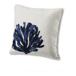 "18"" x 18"" Sea Life Embroidery Decorative Pillow Cover - This beautiful coral pillow will add a big dose of coastal style to your home."