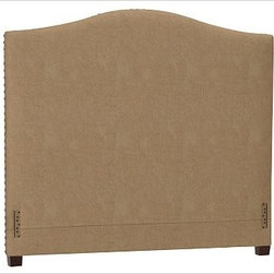 """Raleigh Nailhead Camelback Headboard, King, everydaysuede(TM) Light Wheat - Crafted by our own master upholsterers in the heart of North Carolina, our upholstered bed and headboard is available in a graceful camelback silhouette. Crafted with a kiln-dried hardwood frame. Headboard, footrail and siderails are thickly padded and tightly upholstered with your choice of fabric. Nailhead detail trims the outer edges of the headboard. Exposed block feet have a hand-applied espresso finish. Headboard also available separately. The headboard-only option is guaranteed to fit with our PB metal bedframe using the headboard hardware. Bed is designed for use with a box spring and mattress. This is a special-order item and ships directly from the manufacturer. To see fabrics available for Quick Ship and to view our order and return policy, click on the Shipping Info tab above. This item can also be customized with your choice of over {{link path='pages/popups/fab_leather_popup.html' class='popup' width='720' height='800'}}80 custom fabrics and colors{{/link}}. For details and pricing on custom fabrics, please call us at 1.800.840.3658 or click Live Help. View and compare with other collections at {{link path='pages/popups/bedroom_DOC.html' class='popup' width='720' height='800'}}Bedroom Furniture Facts{{/link}}. Crafted in the USA. Full: 57.5"""" wide x 83.5"""" long x 59"""" high Queen: 64.5"""" wide x 88.5"""" long x 59"""" high King: 80.5"""" wide x 88.5"""" long x 59"""" high Cal. King: 74.5"""" wide x 92.5"""" long x 59"""" high Full: 57.5"""" wide x 4.5"""" thick x 59"""" high Queen: 64.5"""" wide x 4.5"""" thick x 59"""" high King: 80.5"""" wide x 4.5"""" thick x 59"""" high Cal. King: 74.5"""" wide x 4.5"""" thick x 59"""" high"""