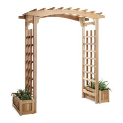 All Things Cedar - Cedar Garden Pagoda Arbor with Planters - Handsome Pagoda Styling, comes with 2 PL30U Planter Boxes : DIMENSIONS : 71w x 36d x 87h ( unassembled kit)