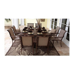 Hospitality Rattan - Chub Cay Patio 9 Pc. Slatted Dining Set in Dark Bronze - Set includes 60 in. Aluminum Slatted Table and 8 Arm Chairs. Outdoor Wicker square dining group. Finished in a powder coated Dark Bronze. Slatted Aluminum outdoor tables do NOT require Glass. Weather and UV resistant. Constructed of extruded Aluminum frame will not rust. Matching seating group and bar stool available. Sturdy Aluminum legs for extra support. Square Table: 60 in. W x 60 in. D x 30 in. H (100 lbs.). Sling Arm Chair: 23 in. W x 32 in. D x 37 in. H (11 lbs.)This traditional Chub Cay collection incorporates a tubular extruded Aluminum frame resembling bamboo that will not rust. A custom made Twitched Sling fiber is used in place of cushions on the seating pieces. The Chub Cay arm chairs are very durable, but are also stackable for easy storage. The dining table tops are slatted Aluminum and do NOT require Glass and they will accommodate an umbrella. The collection also features a special Aluminum slatted top on the coffee table, and the end table which work for both the Chub Cay collection and the Coco Palm Outdoor Group.
