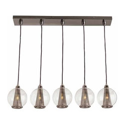 "Arteriors - Arteriors Home - Caviar Fixed Linear Brown Nickel Smoke Glass - This 5 light brown nickel linear pendant is the perfect fixture over a bar or counter. Features: Caviar Collection Pendant Brown NickelSmoke Glass Some Assembly Required. Dimensions: H 25 1/2"" x W 33"" x D 6"""