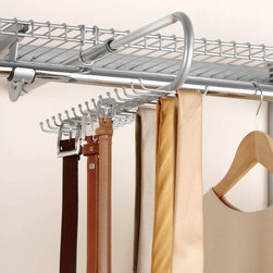 """Rubbermaid - Rubbermaid Configurations Titanium Closet Tie & Belt Organizer - FG3H9802TITNM M - Shop for Closet from Hayneedle.com! Stop throwing your belts and ties into drawers or wrapping them around hangers - the Rubbermaid Configurations Titanium Closet Tie & Belt Organizer - FG3H9802TITNM gives your ties and belts a place they can belong. 30 shimmering titanium hooks from which they may hang neatly for easy access and stylish display. Upgrade your closet configuration with this handy organizer and you'll never have to worry about wrinkled ties or missing belts ever again!About RubbermaidRubbermaid represents innovative high-quality products that make life a little simpler. Starting with housewares Rubbermaid has expanding into various areas including home and garden and commercial products. Rubbermaid has been recognized as a """"Brand of the Century"""" and is one of only 100 companies named as having an impact on the American way of life. Headquartered in Atlanta GA. Rubbermaid can be found almost anywhere from grocery stores to hardware stores to your own kitchen.Being involved in the local community is a cornerstone of the Rubbermaid company and they continually invest in programs that matter to employees and enrich the lives of everyone from child to adult."""