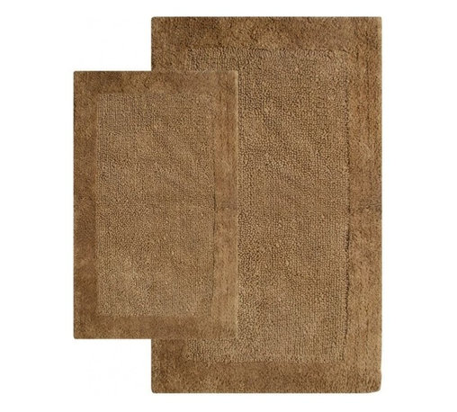 "Chesapeake Merchandising - 2 Piece Bella Napoli Rug Set in Linen - A Luxurious and Comforting reversible bath rug. The Bella Napoli Collection adds warmth to any bathroom.  Spun from 100% Cotton.  This bath rug is plush under foot and comes in 4 colors to coordinate with your bathroom decor.  This bath rug set includes a 21""x34"" and 24""x40"" Bath Rug. Dimensions: 21""W X 34""L and 24""W X 40""L; Color: Linen; Material:  Cotton; Shape: Rectangular; Construction: Machine Tufted and Powerloom"