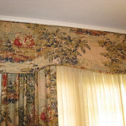 Custom Window Treatments - Layered drapery treatment: sheers, drapery panels and shaped cornice in toile fabric