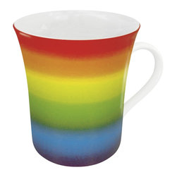 Konitz - Set of 4 Mugs Rainbow - This porcelain coffee mug features a beautiful rainbow-striped design.