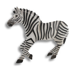 Zeckos - Stacked Wood Running Zebra Wall Plaque 26 In. - This stacked wood wall plaque adds a wild accent to any room in your home, featuring a running zebra. It measures 26 inches long, 22 1/4 inches high, 1 1/2 inches deep, and it easily mounts to the wall with 2 nails or screws by the hangers on the back. The layers of wood give the piece a 3D effect, adding depth and texture to walls in children's rooms or rooms with safari themed decor.