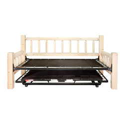 """Montana Woodworks - Homestead Trundle Bed, Day Bed with T. mech., Lacquered - From Montana Woodworks, the largest manufacturer of handcrafted, heirloom quality rustic furnishings in America comes the Homestead Collection line of furniture products. Handcrafted in the mountains of Montana using solid, American grown wood, the artisans rough saw all the timbers and accessory trim pieces for a look uniquely reminiscent of the timber-framed homes once found on the American frontier. This classic day bed frame with pop up trundle mechanism from Montana Woodworks provides the customer with a robust and rustic platform on which they can rely for years of trouble free use. Mattresses not included. Some assembly required. Mortise and tenon joinery throughout. The trundle can accommodate a mattress (not included) that is 7 inches or less in height and still fit under the daybed for storage. The trundle, when closed and without a mattress is approximately 5"""" high. There is approximately 12 inches of space underneath the daybed. 20-year limited warranty included at no additional charge.; Hand Crafted in Montana U.S.A.; Solid, U.S. grown genuine lodge pole pine wood; Timbers and Trim Pieces are Sawn Square for Rustic Timber Frame / Barn wood Design Appearance; Heirloom Quality; 20 Year Limited Warranty; Durable Build, Fit and Finish; Each Piece Signed By The Artisan Who Makes It; Mortise and Tenon Joinery; Includes """"Pop Up"""" Trundle Bed. When Combined, Makes Into King Sized Bed.; Weight: 170 lbs; Dimensions: 46""""W x 87""""L x 41""""H"""