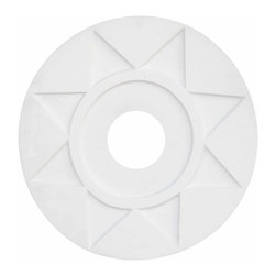 Renovators Supply - Ceiling Medallions Urethane Ceiling Medallion 15 3/8 Dia 4'' Hole - Ceiling Medallions: Made of virtually indestructible  high-density  urethane our medallions are cast from  steel molds  making them the highest quality on the market. Steel molds provide a higher quality result for  pattern consistency, design clarity & overall strength & durability.  Lightweight they are  easily installed  with no special skills. Unlike plaster or wood urethane is resistant to  cracking, warping or peeling.   Factory-primed  these medallions are ready for finishing. NOTE: Images medallions with a center opening may not be represented to scale, appearing larger or smaller than they actually are.
