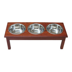 3 Bowl Traditional Style Diner  Medium  2 Qt Cherry - 3 Bowl Traditional Style Diner  Medium  2 Qt Cherry Completely assembled.Finished with 3 coats of water base polyurethane, safe for your pet. Solid mortise and tenon construction will give this diner years of use. With any fine furniture, standing water will eventually stain the rim. Completely assembled, ready to use. Stainless steel, dishwasher safe bowls included. 29x11x9 1/2