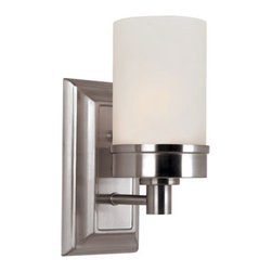 Trans Globe Lighting - Brushed Nickel Urban Swag Single Wall Sconce with White Frosted Glass - - Industrial architect lighting decor for urban lifestyles and lofts. Show off edgy lines and crisp white frosted glass. Available in a complete indoor home collection  - 1 Light Wall Sconce  - Industrial d�cor with straight lines and push button knobs  - Rectangle wall plate measures 5w x 10h  - Mount up or down for directional light  - Urban indoor lighting d�cor  - Complete indoor home lighting collection available  - Material; Steel, Glass  - Bulbs not included Trans Globe Lighting - 70331 BN
