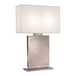 """Sonneman - Sonneman Plinth Black Nickel 33 1/2"""" High Table Lamp - The solid vertical base is complemented by a linen shade with a matching rectangular form. We see this lamp as truly contemporary and yet quite comfortable. Black nickel finish. Off-white linen shade. Two on/off pull chain switch. Takes two 60 watt medium base bulbs (not included). 33 1/2"""" high. 15"""" wide. 8"""" deep. Shade is 15"""" high 22"""" wide 8"""" deep. Base is 15"""" wide 6"""" deep.  Black nickel finish.  Off-white linen shade.  Two on/off pull chain switch.  Takes two 60 watt medium base bulbs (not included).  33 1/2"""" high.  15"""" wide.  8"""" deep.  Shade is 15"""" high 22"""" wide 8"""" deep.  Base is 15"""" wide 6"""" deep."""