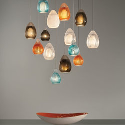 Ava and Avery Pendant Lighting by Tech Lighting - Ava and Avery pendant lighting available in aqua, orange and smoke. Bulb-shaped glass is hand-blown by Polish artisans with a solid draw, then hand carved to add visual interest and to help capture and diffuse the light.