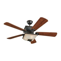 Montecarlo - Monte Carlo Town Square Ceiling Fan in Roman Bronze - Monte Carlo Town Square Model MC-5TQ52RBD-L in Roman Bronze with American Walnut Finished Blades. Single light fixture with Champagne Scavo Glass for Town Square fans.