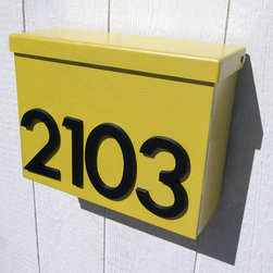 Custom Modernist House Number Mailbox No. 1310 in Powder Coated Aluminum - Custom Modernist House Number Mailbox No. 1310 in Powder Coated Aluminum