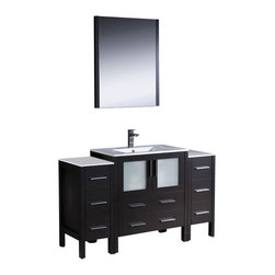 Fresca - Torino Modern Bathroom Vanity w Undermount Sink (Bevera Chrome) - Choose Included Faucet: Bevera ChromeP-trap, Faucet, Pop-Up Drain and Installation Hardware Included. Single Hole Faucet Mount (Faucet Shown In Picture May No Longer Be Available So Please Check Compatible Faucet List). With overflow. Sink Color: White. Finish: Espresso. Sink Dimensions: 19 in. x12 in. x5 in. . Mirror: 25.5 in. W x 31.5 in. H x 1.25 in. D. Materials: Plywood w/ Veneer, Ceramic Sink w/ Overflow. Vanity: 54 in. W x 18.13 in. D x 33.75 in. HFresca is pleased to usher in a new age of customization with the introduction of its Torino line. The frosted glass panels of the doors balance out the sleek and modern lines of Torino, making it fit perfectly in either Town or Country decor. Available in the rich finishes of Espresso, Glossy White and Light Oak, all of the vanities in the Torino line come with either a ceramic vessel bowl or the option of a sleek modern ceramic undermount sink.
