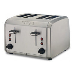 "Waring Pro 4 Slice Toaster - This classic brushed stainless steel toaster features four wide 1.3-"" toasting slots  an easy-to-clean slide-out crumb tray  plus Defrost and Bagel settings for perfect results every time.Product Features                          Brushed stainless steel housing            1000 watts of power            Four 1.3-"" wide toasting slots            Adjustable Shade control and Cancel knob            Defrost and Bagel settings with LED indicators            High-lift carriage feature            Self-centering toasting slots            Slide-out crumb tray            Limited One Year Product Warranty"