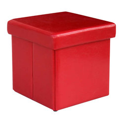 Modus Urban Seating Folding Storage Cube  in Red Leatherette