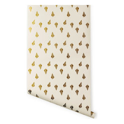 Ferns Wallpaper, Gold
