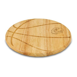 """Picnic Time - University of Kansas Free Throw Cutting Board - The Free Throw cutting board is a 12"""" round x 0.75"""" board made of eco-friendly rubberwood in a basketball design, with 104 square inches of cutting surface. It can be used as a cutting board or serving tray, or use both sides of the board, one for cutting and the other for serving. The backside of the board has is blank, with no design. Score with your guests when you show them your Free Throw! (Point of sale Cutting Board Display Rack (899-00-505) available. See item for details.); College Name: University of Kansas; Mascot: Jayhawks; Decoration: Laser Engraving"""