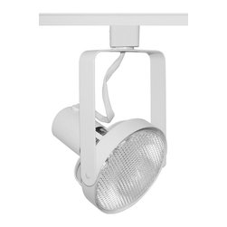 Juno Lighting - Trac-Master T690 PAR38 Front Lamping Gimbal Track Light, T690wh - The clean, functional lines of the open back allows maximum adjustability. Front Loading Open Back Spotlights relamp from the front and have fixed socket mount and on/off switch. The minimum profile with stylized yoke design is ideal for retail and commercial applications.