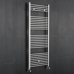 Hudson Reed - Flat Chrome Modern Heated Bathroom Towel Radiator 59 x 23.5 & Valves - This flat Ladder Style Heated Towel Warmer, with a high quality chrome finish, produces a heat output of 529 Watts (1,806 BTUs), enough to keep your towels warm and heat a small bathroom or cloakroom.Supplied complete with a fixing pack for wall mounting, this minimalist towel rail has 28 horizontal rungs and provides a functional and stylish centrepiece to any contemporary setting. This product is from the Kudox Premium range and has 0.86 bars which give both a higher output and improved aesthetics. Manufactured by an ISO 9001 registered company.Suitable for closed loop heating systems, the 59 x 23.5 Kudox Heated Bathroom Towel Rail connects to your heating system via the radiator valves included, please choose either straight or angled. Kudox Chrome Flat Heated Bathroom Towel Radiator Rail 59 x 23.5 Details  Dimensions: (H x W x D) 59 (1500mm) x 23.5 (600mm) x 3 (75mm) Output: 529 Watts (1,806 BTUs) Number of cross-bars: 28 with a thickness of 0.86 (22mm), divided into 4 sections of 4, 8, 8, 8 Pipe Centres: 22 (560mm) Fixing Pack Included Suitable for bathroom, cloakroom, kitchen etc. Expertly plated with high quality 62.5 micron chrome on copper plated mild steel, with swagged oven brazed joints. Tested to BS EN442 - 140 psi maximum working pressure 5 Year Guarantee (12 months for surface finish) Please note: Radiator valves are included, please choose either straight or angled radiator valves.  Buy now, to transform your bathroom, at an affordable price. Please Note: Our radiators are designed for forced circulation closed loop systems only. They are not compatible with open loop, gravity hot water or steam systems.