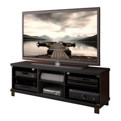"""Sonax - Sonax Hollow Core TV Stand and Component Bench in Midnight Black Finish - Sonax - TV Stands - HC5590 - Introducing the highly sought after hollow core TV Bench from the Holland Collection. The ingenious honeycomb wood core allows for a thicker prominent profile while remaining light and easy to handle. This bench is featured in our sleek Midnight Black finish and accented with our easy touch tempered glass doors. The HC-5590 is 3D TV ready and can accommodate most TV's up to 68"""".  Bring home this contemporary furniture by Sonax proudly built in North America.Features:"""