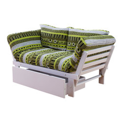 Kodiak Furniture - Elite White Futon Lounger in Radiant Flux, Futon Set with Drawer - Bright colors and unusual pattern adorn this futon lounger. The futon set consist of solid wood frame, mattress, tufted cover in Radiant Flux finish, and pillows. It features 3 positions: guest bed, sofa or lounger. You can add a matching drawer.