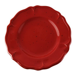 Vita Casalinga - Scalloped Terra-Cotta Salad/Dessert Plate - The color red is associated with passion, fire and beauty. Honor your salad or dessert with a scalloped, terra-cotta Italian-made plate. These plates make terrific everyday servings or fun to break out for big events. Bake a cake and invite the neighborhood over!