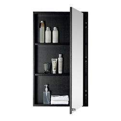 Fine Fixtures - Fine Fixtures Imperial Vanity Collection, Black, With Medicine Cabinet - Maximized minimalism has a formal name: Imperial. What sets this clean-looking collection apart is its actual feigned disinterest in standing out at all. With squared surfaces, otherwise standard vanity styling, a simple, classic design, and nigh unnoticeable brushed aluminum button door and mirror handles, you could integrate an Imperial set into virtually any bathroom design with little effort. No wonder, then, that it remains one of our best-selling numbers. Its lasting feel tells of an all-plywood construction. The veneer face comes finished in either Black Grain or Light Maple Grain color choices, both perfectly matched to same-finish, wood-trimmed medicine cabinets. For easy plumbing access and general maximization of storage space, the entire front door opens easy to reveal a very spacious interior cavity. The roominess is made possible by the elevated positioning of the thick square grade AAA vitreous china sink.