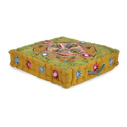 Morbia Box Cushion - The golden yellow of the Morbia cushion is perfect of extra seating when you have guests over.