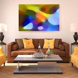 Cool Dappled LightDigital Art Abstraction in Warm Room - My inspiration came from sunlight as it reflects and passes through a palm tree creating a dappled light. I love the way the cool and warm colors work together with the warm yellow sunlit room. Digital Art Prints available on paper, canvas, waterproof metal and acrylic. Different sizes, proportions and panels available upon request. Print prices start at $18.00. Imagekind