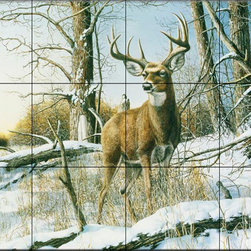 The Tile Mural Store (USA) - Tile Mural - After The Season - Kitchen Backsplash Ideas - This beautiful artwork by Jim Hansel has been digitally reproduced for tiles and depicts a deer buck standing in a clearing.  Our elk tile murals and our tiles with deer are perfect as part of your kitchen backsplash or your tub and shower surround bathroom tile project. Elk images on tiles and images of deer on tiles add a unique element to your bathroom tiling project as well. Consider a tile mural of a woodland scene for any wall tile project.