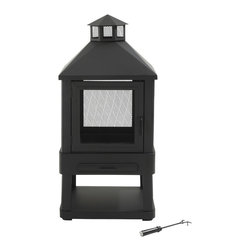 Crosley - Outdoor Villa Fireplace (Black) - The Outdoor Villa Fireplace brings the warmth and attraction of a natural wood fire to your outdoor entertainment area. This sturdy and elegant fire pit features a 360 degree view of fire, an elegant design and durable construction. This marvelous chiminea includes spark screens, a removable ash pan and a fire tool to make your outdoor experience safe and enjoyable. Perfect for backyards, patios and gardens, this outdoor pit is built for years of excellent performance. Made of high temperature rated steel.