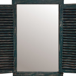 handmade - Green Rectangle Rustic Shutter Wall Mirror 47x31 - Living Room or Bedroom - You will not go wrong with this window shutter rustic green mirror that looks like 1950s European style windows.  With a wooden framed polishe rustic green, this beveled mirror will add elegance and style to any living space.