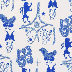 Amsterdam Wallpaper - This hand-painted wallpaper by artist Karen Combs caught my eye because of its bold blue color. Plus, I find the design to be intriguing.