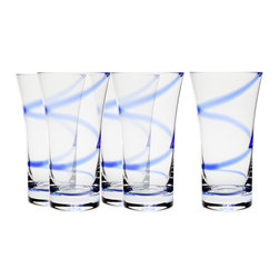 Martinka Crystalware & Lifestyle - Egyptian Blue, Tumblers (Set of 6) - A beautiful complement to the Egyptian Blue pitcher, these whimsical tumblers add a little something special to the table. A graceful stroke winds along the length of each tumbler. Each tumbler is handmade from crystal and is perfect for a variety of refreshments, cocktails and spirits.