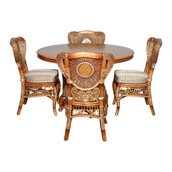 Royola Pacific - 5 Pc Rattan Louis XVI Table w/ 4 Arm Chairs Dining Set - Solid hardwood construction w/ rattan