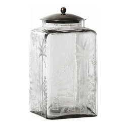 Arteriors - Canton Jar, Small - This was inspired by a simple kitchen canister; however, the elaborate hand etching elevates it to elegance and crosses the boundary of East and West. Fill with bath salts or jelly beans, or use as a cookie jar. The bronze steel lid will keep your contents dry.