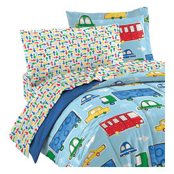 CHF Industries Inc - Traffic Twin Bedding Set 5pc Cars Trucks Bed - FEATURES: