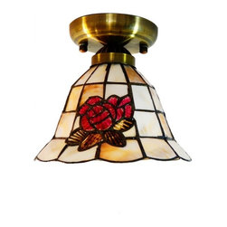 ParrotUncle - Flush Mount Ceiling Lamp with Sea Shell Rose Design - Whether traditional or trendy, Tiffany style art always offers a magical beauty that reflects the true artistry of these heirloom pieces. Natural sea shell are so unique for combining the shade. Besides, this rose design are outstanding, and will definitely gain your guests' compliment. This iron base flush mount ceiling lamp is perfect for your home decoration demands.