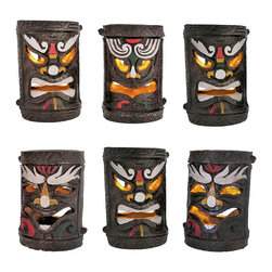 Set of 6 Colorful Friki Tiki Solar Accent Lights - This awesome set of Polynesian tiki solar garden lights is perfect for lighting pathways or fences, and makes a lovely garden accent. Included with each solar lamp is a post mounting bracket, a ground stake, 2 extension poles, and a pole connector so you can display them any way you choose. The lamps are made of cast resin, measure approximately 5 3/4 inches tall, 3 3/4 inches in diameter, have hand painted accents, and can also be displayed standing alone on table tops. The light is a yellow LED that flickers like a candle, turns on automatically in dark conditions, and lasts up to 10 hours with a full charge. This set is an essential addition to any tiki bar, is a wonderful decoration for island themed parties, and is sure to be admired.