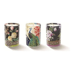 Fringe Studio - Studio Mini Kim Peacock Candles, Set of 3 - Appropriately showy and slightly whimsical, these candles are dressed to impress, not unlike their namesake bird's plumage. Whether you're gifting or keeping, they'll delight with their vintage-inspired floral motifs.