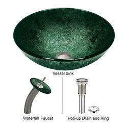 Vigo - Vigo Emerald Glass Vessel Sink and Waterfall Faucet Set (VGT004BNRND) - Vigo VGT004BNRND Emerald Glass Vessel Sink and Waterfall Faucet Set, Brushed Nickel