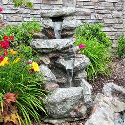"Harmony Fountains - 34"" Rock Waterfall Fountain w/ LED Lights -"