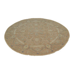 Washed Out Taupe Round 100% Wool Peshawar 6x6 Hand Knotted Oriental Rug Sh18004 - Oushak stands for the western Anatolian Turkish city, known for its rare collectible rugs made during the Ottoman Empire. Today we are recreating these historical carpets, in the centuries-old hand weaving techniques, the same fantastic designs in a variety of colors to fit today's decor and taste using natural dyes and hand spun wool. Ziegler stands for Ziegler and company, German based oriental rug importer which operated between 1880-1920. They originally produced and imported these precious carpets in the Mahal region in Iran, specifing to the locals the German and European taste.