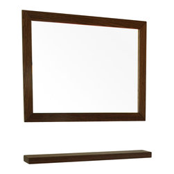 Bellaterra Home - 31.5 in Mirror-Dark walnut - A rectangular wood frame mirror, made with solid birch wood finished in dark walnut finish. It is warm and sophisticated to add to any bathroom.
