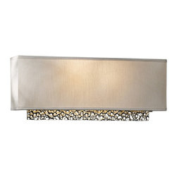 "Hubbardton Forge - Contemporary Hubbardton Forge Oceanus 16 1/2"" Wide Platinum Wall Sconce - Inspired by the ocean this sophisticated wall sconce adds a splash of illumination to your walls. A panel of bubbled aluminum adorned with a vintage platinum finish descends from a rectangular shade. When lit this design gleams with shine and dimension. From the Oceanus Collection by Hubbardton Forge. Oceanus Collection 2-light wall sconce. By Hubbardton Forge. Aluminum construction. Vintage platinum finish. ADA compliant. Two maximum 60 watt or equivalent bulbs (not included). 16 1/2"" wide. 6 1/2"" high. Backplate is 16"" wide 5 1/2"" high.   Oceanus Collection 2-light wall sconce.  By Hubbardton Forge.  Aluminum construction.  Vintage platinum finish.  ADA compliant.  Two maximum 60 watt or equivalent bulbs (not included).  16 1/2"" wide.  6 1/2"" high.  Backplate is 16"" wide 5 1/2"" high."