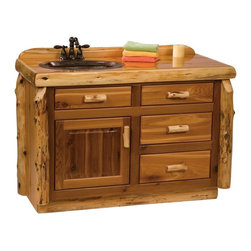 Fireside Lodge Furniture - Cedar Log Vanity (42 in. W - Center - Standar - Finish: 42 in. W - Center - StandardCedar Collection. 4 Drawers. Storage cabinet. All drawer fronts and doors are inset. All hinges are concealed European style for a clean uncluttered look. Full-extension ball-bearing glides rated to 100 lbs.. Northern White Cedar logs are hand peeled to accentuate their natural character and beauty. Clear coat catalyzed lacquer finish for extra durability. Liquid glass finish helps prevent scratches and denting in the wood on highly used surfaces and protect against standing water around the vanity. 2-Year limited warranty. 42 in. W x 21 in. D x 32.25 in. H (100 lbs.). 48 in. W x 21 in. D x 32.25 in. H (135 lbs.)