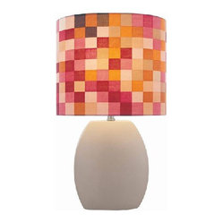 Lite Source Reiko 17-inch Ceramic Table Lamp, Latte with Colored Fabric Shade